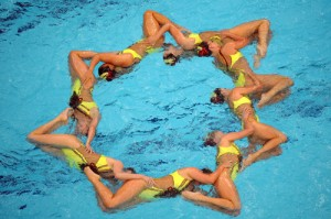 USA's team competes in the synchronised